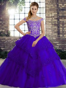 Custom Design Sleeveless Beading and Lace Lace Up Quinceanera Dress with Purple Brush Train