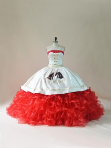 Sleeveless Brush Train Embroidery and Ruffles Lace Up 15th Birthday Dress
