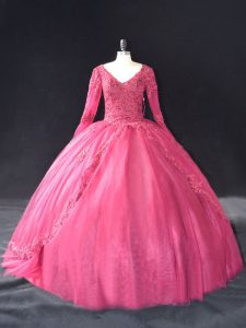 Hot Pink Tulle Lace Up V-neck Long Sleeves Floor Length Quinceanera Gowns Lace and Appliques