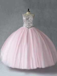 Excellent Floor Length Ball Gowns Sleeveless Baby Pink Quinceanera Gowns Lace Up