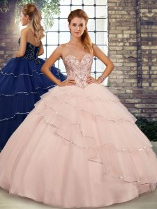Sweetheart Sleeveless 15 Quinceanera Dress Brush Train Beading and Ruffled Layers Peach Tulle