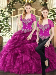 Eye-catching Sweetheart Sleeveless Organza Quinceanera Dresses Beading and Ruffles and Pick Ups Lace Up