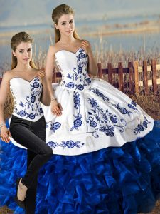 Exceptional Floor Length Lace Up Sweet 16 Dress Blue And White for Sweet 16 and Quinceanera with Embroidery and Ruffles