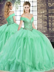 Captivating Apple Green Quinceanera Dresses Military Ball and Sweet 16 and Quinceanera with Beading and Ruffles Off The Shoulder Sleeveless Lace Up