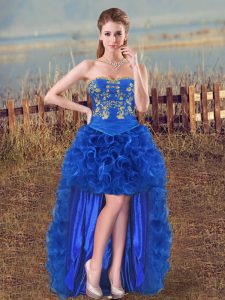 Royal Blue Organza Lace Up Sweetheart Sleeveless High Low Prom Gown Embroidery and Ruffles