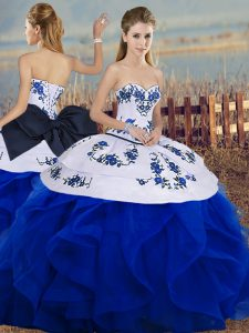 Edgy Royal Blue Quince Ball Gowns Military Ball and Sweet 16 and Quinceanera with Embroidery and Ruffles and Bowknot Sweetheart Sleeveless Lace Up