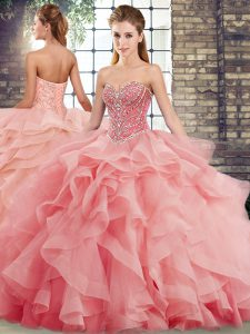 Simple Watermelon Red Tulle Lace Up Quinceanera Gown Sleeveless Brush Train Beading and Ruffles