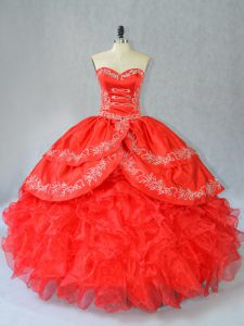 Sleeveless Organza Floor Length Side Zipper 15th Birthday Dress in Red with Embroidery and Ruffles