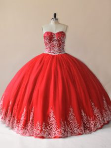 Cheap Embroidery Sweet 16 Dress Red Lace Up Sleeveless Floor Length