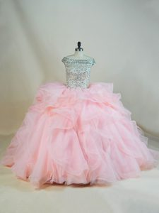 Off The Shoulder Sleeveless Brush Train Lace Up Quince Ball Gowns Pink Organza
