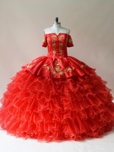 Traditional Floor Length Ball Gowns Sleeveless Red 15 Quinceanera Dress Lace Up