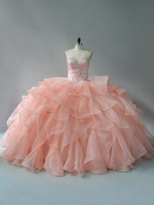 Peach Sweetheart Lace Up Beading and Ruffles Quinceanera Dresses Brush Train Sleeveless