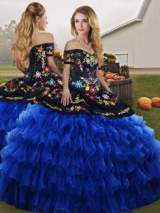Sleeveless Embroidery and Ruffled Layers Lace Up Sweet 16 Dress