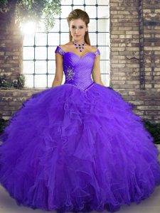 Purple Sleeveless Floor Length Beading and Ruffles Lace Up Sweet 16 Quinceanera Dress