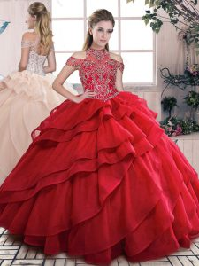 Red Lace Up Vestidos de Quinceanera Beading and Ruffled Layers Sleeveless Floor Length