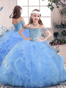 Trendy Straps Sleeveless Tulle Child Pageant Dress Beading Lace Up