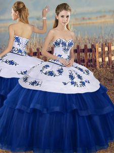 Royal Blue Sweetheart Lace Up Embroidery Quinceanera Dress Sleeveless