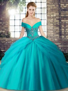 Teal Off The Shoulder Lace Up Beading and Pick Ups Quinceanera Dresses Brush Train Sleeveless