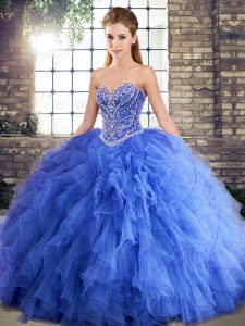 Customized Floor Length Ball Gowns Sleeveless Blue Sweet 16 Dresses Lace Up