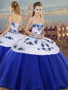 Royal Blue Tulle Lace Up Sweetheart Sleeveless Floor Length Quinceanera Dresses Embroidery