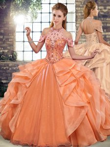 Floor Length Orange Vestidos de Quinceanera Organza Sleeveless Beading and Ruffles