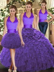 Sleeveless Organza Floor Length Lace Up 15 Quinceanera Dress in Purple with Ruffles