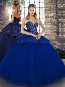 Designer Royal Blue Sleeveless Floor Length Beading and Appliques Lace Up Quinceanera Gown