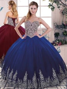 Tulle Sweetheart Sleeveless Lace Up Beading and Embroidery Quinceanera Gown in Royal Blue