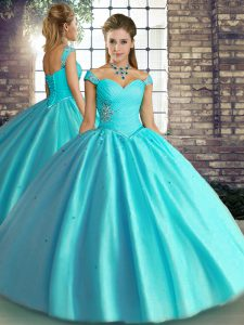 Smart Aqua Blue Lace Up Quinceanera Dresses Beading Sleeveless Floor Length