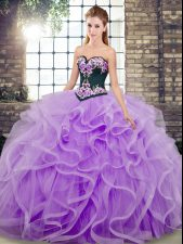 Ideal Sleeveless Tulle Sweep Train Lace Up Quince Ball Gowns in Lavender with Embroidery and Ruffles