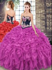 Sleeveless Organza Sweep Train Lace Up Sweet 16 Dress in Fuchsia with Embroidery and Ruffles