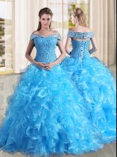 Best Sleeveless Organza Sweep Train Lace Up Sweet 16 Dresses in Baby Blue with Beading and Lace and Ruffles