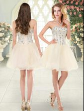 Champagne Tulle Lace Up Sweetheart Sleeveless Mini Length Prom Evening Gown Beading