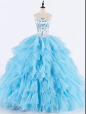 Dynamic Baby Blue Ball Gowns Tulle Sweetheart Sleeveless Beading and Ruffles Floor Length Lace Up Sweet 16 Dresses