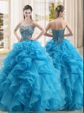 Adorable Beading and Ruffles Quinceanera Gowns Baby Blue Lace Up Sleeveless Floor Length