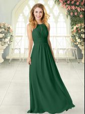 Ideal Green Prom Party Dress Prom and Party with Ruching Scoop Sleeveless Zipper