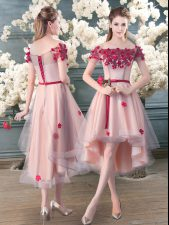 Clearance Tulle Short Sleeves High Low Prom Dress and Appliques