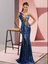 Low Price Blue Sleeveless Sweep Train Beading and Appliques Dress for Prom