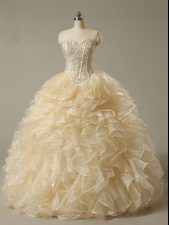 Customized Champagne Lace Up Sweetheart Beading and Ruffles Quinceanera Dress Organza Sleeveless