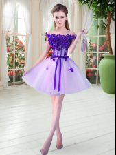 Mini Length Lace Up Prom Evening Gown Lavender for Prom and Party with Beading and Appliques