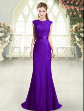 Sleeveless Beading Backless Prom Dress with Dark Purple Sweep Train