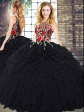Black Scoop Zipper Embroidery and Ruffles 15 Quinceanera Dress Sleeveless