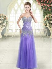 Unique Lavender Tulle Zipper Prom Dress Sleeveless Floor Length Beading
