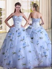 Affordable Lavender Sweet 16 Dress Military Ball and Sweet 16 and Quinceanera with Beading Sweetheart Sleeveless Lace Up
