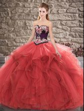 Red 15 Quinceanera Dress Sweet 16 and Quinceanera with Beading and Embroidery Sweetheart Sleeveless Lace Up