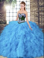 Baby Blue Quinceanera Dress Sweet 16 and Quinceanera with Beading and Embroidery Sweetheart Sleeveless Lace Up