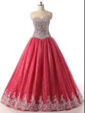 Beading and Appliques Quinceanera Dresses Coral Red Lace Up Sleeveless Floor Length