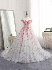 Beautiful White Tulle Lace Up Sweet 16 Dress Sleeveless Brush Train Appliques