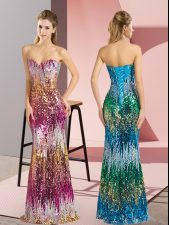 Purple and Multi-color Sweetheart Neckline Beading and Sequins Dress for Prom Sleeveless Lace Up