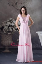Beading and Ruching Accent Pink Prom Celebrity Dress with Cap Sleeves WD4-565FOR